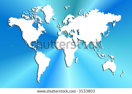 World Map On Blue Burst Background
