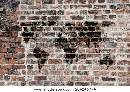 World map on brick wall - stock photo