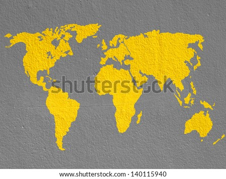 world map on brown cement wall - stock photo