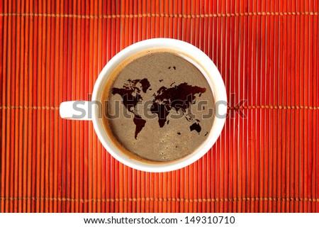 World map on coffee  - stock photo