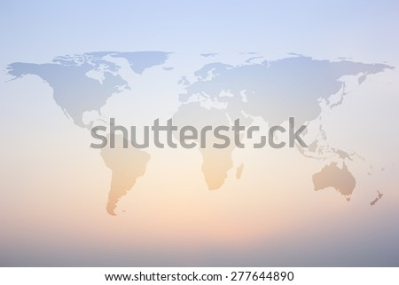 World map on colorful blurred backgrounds - stock photo