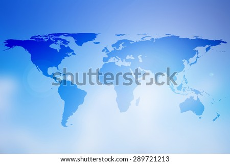 world map on colorful blurred gradient blue sky background:abstract backdrop picture with silhouette land of global concept:travel and journey board concept:blur topography display transportation.