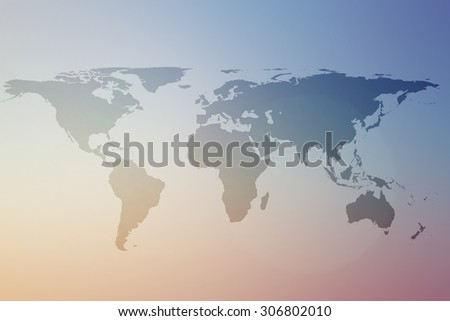 World map on colorful blurred morning sky climate backgrounds.blurry early morning wallpaper.blurry backdrop concept.pastel cool tone:worldwide business community connection conceptual:worldwide - stock photo