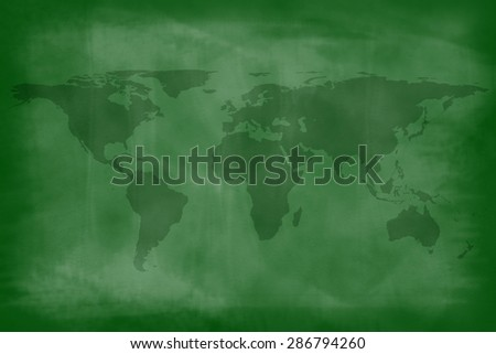 World map on colorful green chalkboard backgrounds backgrounds - stock photo