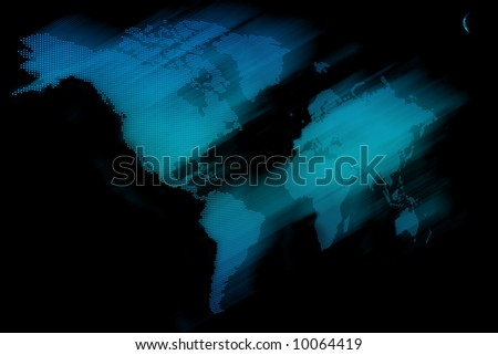 World Map on 3D - stock photo