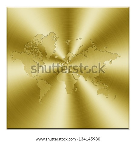 World map on golden background