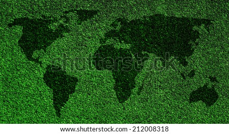 World map on grass background