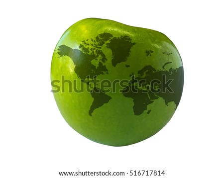 World map on green apple isolated on white background
