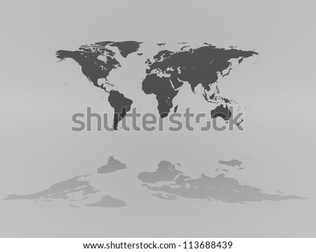 World map on grey background with reflection. Elements of this image furnished by NASA