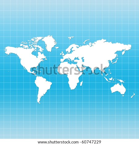 World Map on Grid - blue color - stock photo