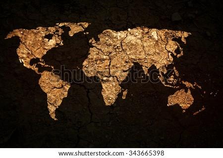 world map on grunge background - stock photo