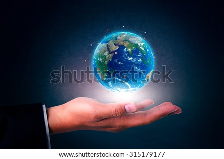 World map on hand businessman