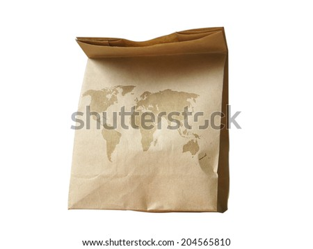 world map on natural brown recycled paper bag - stock photo