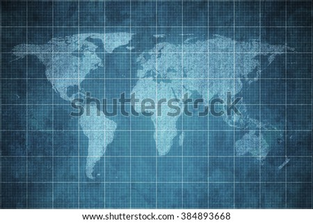 world map on old blueprint background texture.