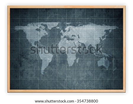 world map on old blueprint background texture in wooden frame - stock photo