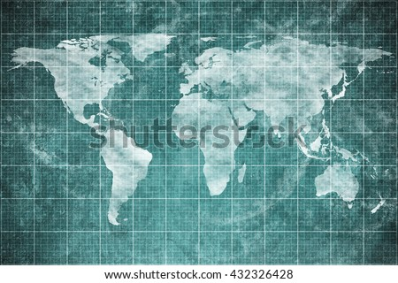 world map on old blueprint background texture. Technical backdrop paper. Concept Technical / Industrial / Business / Engineering / Map / World - stock photo