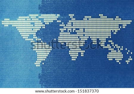 World map on paper for background - stock photo