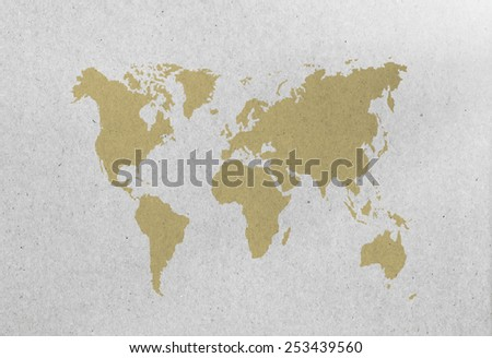World Map on paper sheet - stock photo
