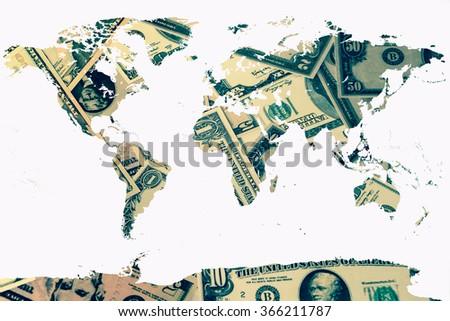 world map on pile of banknote