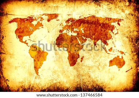 world map on rusty texture - stock photo