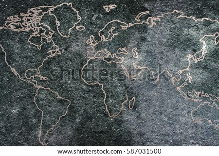 World map on stone background stock photo royalty free 587031500 world map on stone background gumiabroncs Gallery