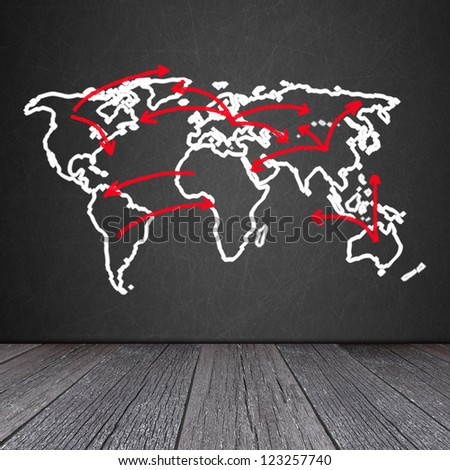 World map on the Blackboard with ground of the wood - stock photo