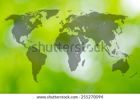 World map on the green blur background. - stock photo