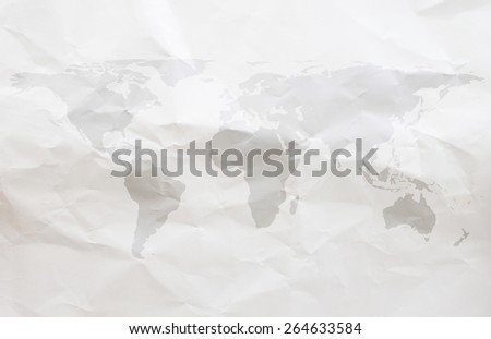 World map on white crumpled  paper backgrounds - stock photo