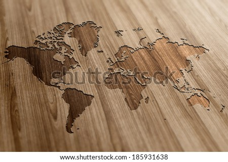World Map on Wooden Background - stock photo