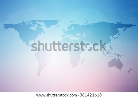 World map over colorful blurred backgrounds in pastel tones styles.