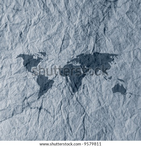 World map overlaid onto blue textured paper