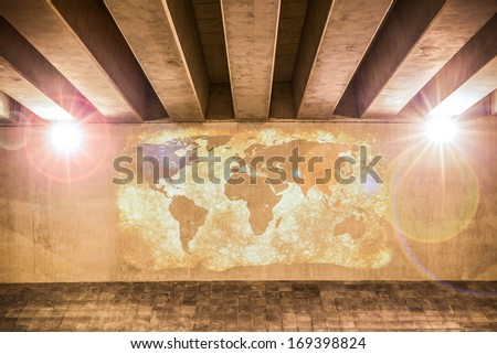 World map painted on a wall of an overpass - stock photo