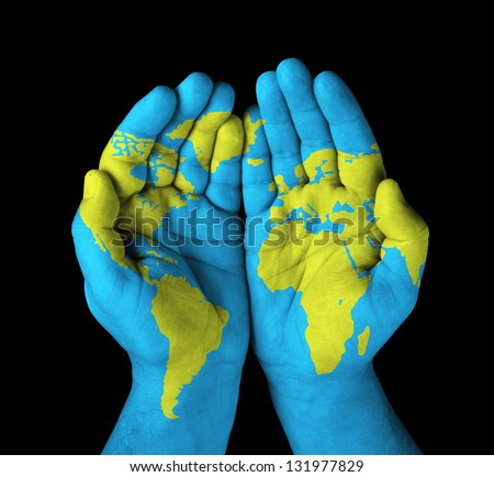 World map painted on hands stock photo 131977829 shutterstock world map painted on hands gumiabroncs Gallery