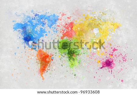 world map painting on hand made paper - stock photo