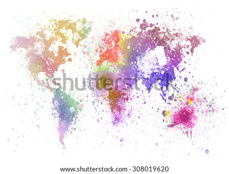 world map painting on white background
