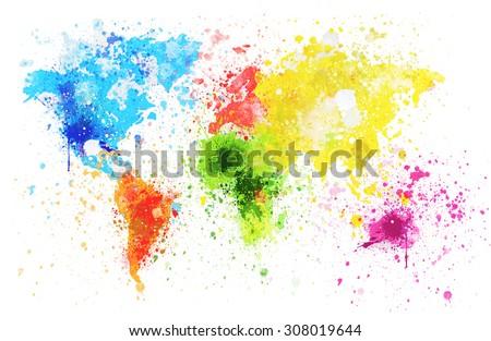 world map painting on white background - stock photo