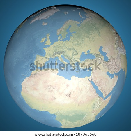World Map, physical map, Europe, Middle East and North Africa. Elements of this image furnished by NASA - stock photo
