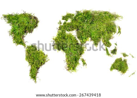world map placed of natural turf with grass and moss, concept for ecology and environmental protection, isolated on white background - stock photo