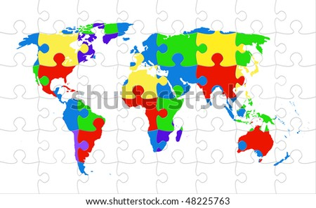 World map puzzle rainbow colored
