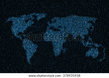 World map represented by lines of digital connections. Image concept of a digital world.