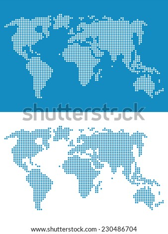 World map round dots. Abstract illustration in flat style. - stock photo