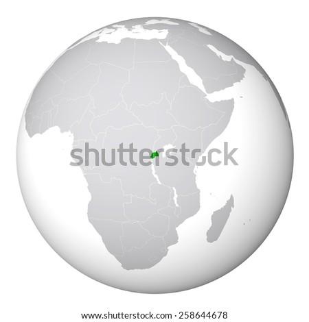 World Map - Rwanda - stock photo