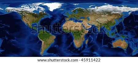World Map Shaded Relief with Bathymetry and snow cover in Fall Data Source: NASA - stock photo