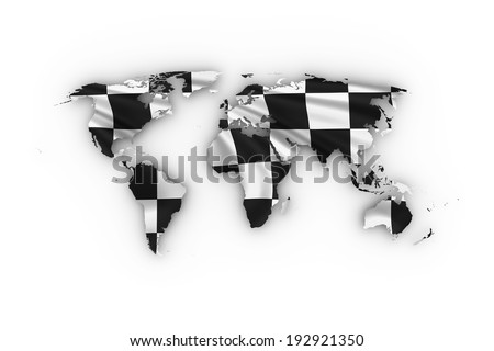 World map showing a checkered flag. High quality 3D illustration. - stock photo