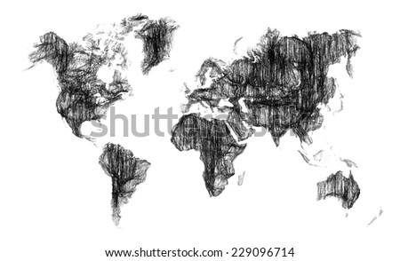 World map sketch design isolated on white background - stock photo