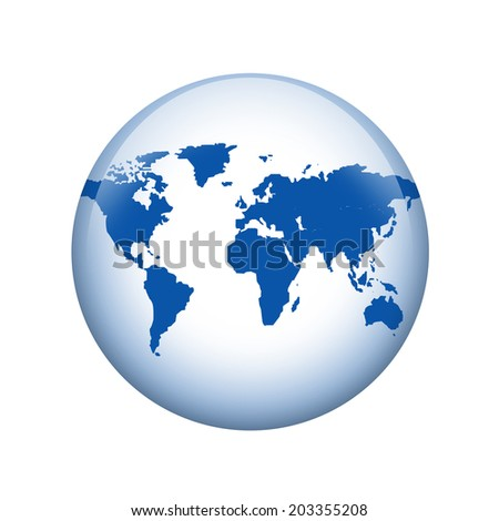 World map. Spherical glossy button. Web element - stock photo