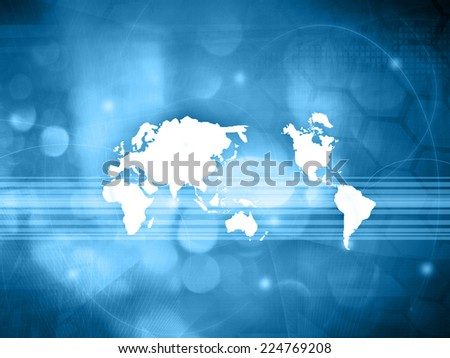 world map technology style - perfect background with space - stock photo