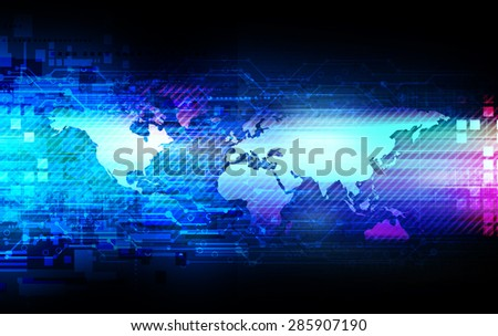 world map telecoms technology abstract background illustration - stock photo