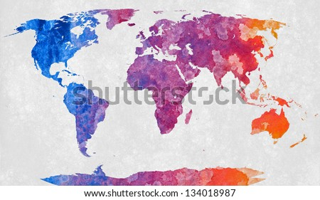 World map textured with a colorful abstract acrylic painting