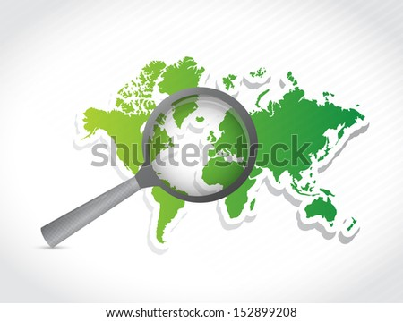 world map under investigation. illustration design over a white background